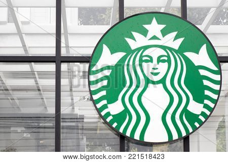 Ayutthaya, Thailand - DECEMBER 26, 2017 - Starbucks logo locate in front of Starbucks coffee cafe. This is the largest coffee chain store.