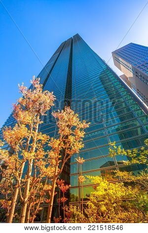 Tokyo, Japan - April 20, 2017: Network Corporation Tower sky glass High-rise facade. The Nittele Tower is the main office of Nippon Television. Shiodome area, Shimbashi, Minato ward. Vertical shot