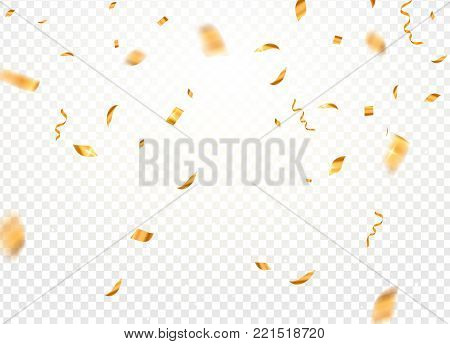 Gold confetti background vector. Gold confetti falling festive decoration for birthday party celebration.