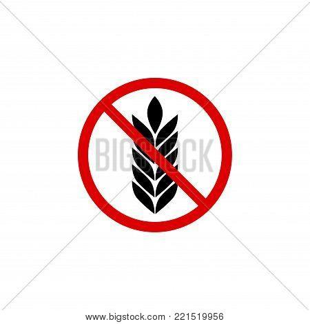 Gluten free grain vector icon symbol. Wheat healthy food label. Gluten bread diet sign.
