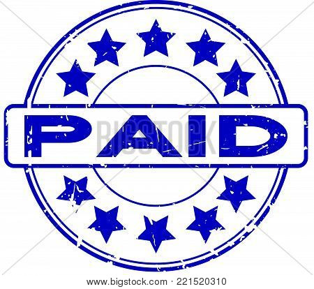 Grunge blue paid with star icon round rubber seal stamp on white background