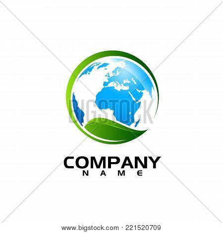 Ecology logo. Eco world green leaf energy saving lamp symbol. Eco friendly concept for company logo. Vector