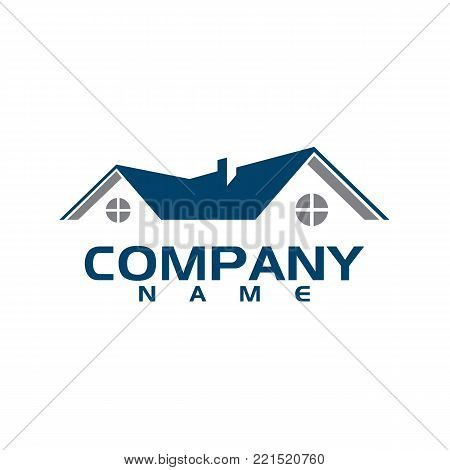 Real Estate with swirl vector logo design template. House abstract concept icon. Realty construction architecture symbol.