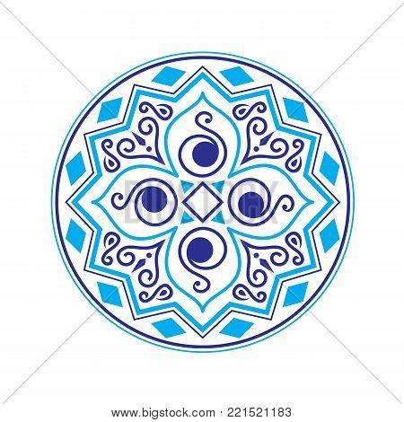 Ethnic vector logo. The ethnic circular logo. Simple logo. The brand name, emblem, logo. Mandala Logo boutique. Vintage. Islam, Arabic, Indian, ottoman