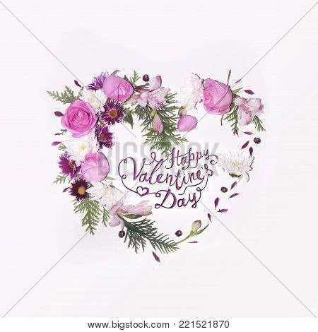 8 March. Happy women's day! Card with pink and blue lupine flowers in waffle cone