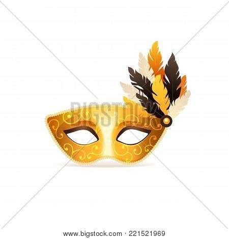 Bright golden carnival vector mask isolated on white background. Festive masqeurade elegant mask icon in golden colors.