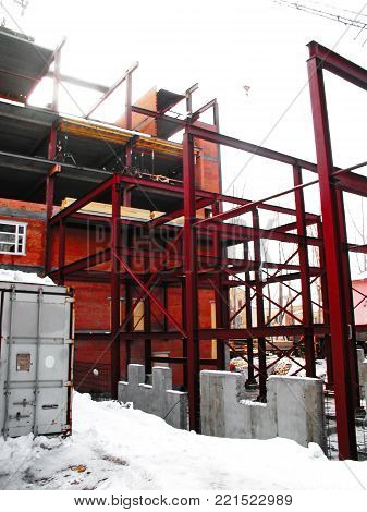 Construction Of Industrial Building Facade Metal Elements