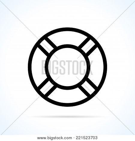 Illustration of life buoy icon on white background