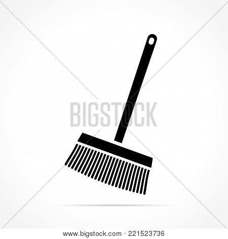 Illustration of broom icon on white background