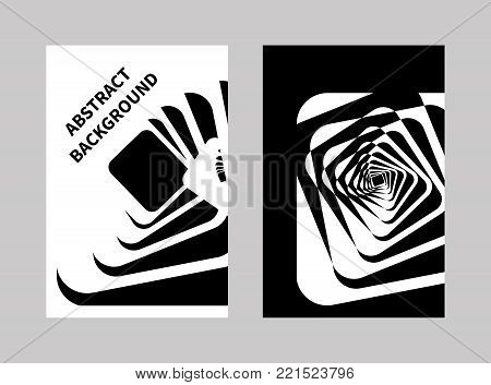 Optical illusion. Set posters, banners, cards with opt illusions, hypnotic lines. Abstract black and white, psychedelic tunnel, vortex. Vector illustration