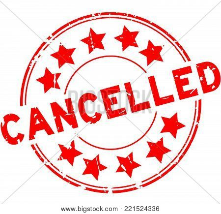 Grunge red cancelled with star icon round rubber seal stamp on white background
