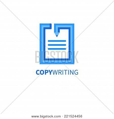 Icon copywriting. Logo copywriter. Curved pencil. Vector illustration.