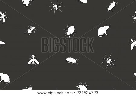 Seamless pattern insects and rodents pests. Black background for service of pest control. Web banner with cockroaches, rats, spiders, ants, bed bugs, mosquitoes, mosquitoes. Vector illustration