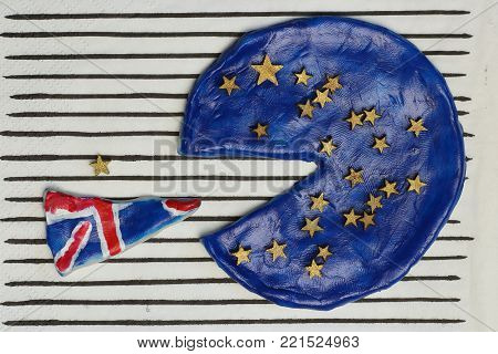 Pizza in the colors of the flag of the  Great Britain, concept  disintegration European Union