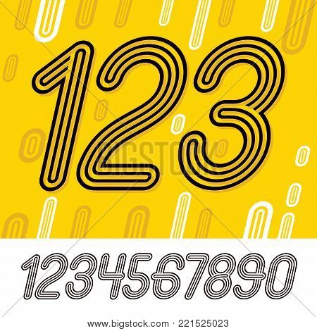 Set of stylish retro vector digits, modern numerals collection. Trendy italic numerals from 0 to 9  can be used in poster creation. Created using triple stripy, parallel lines.