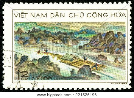 Ukraine - circa 2018: A postage stamp printed in Vietnam shows Wood transportation. Alloy wood downstream. Series: Timber Industry. Circa 1968.
