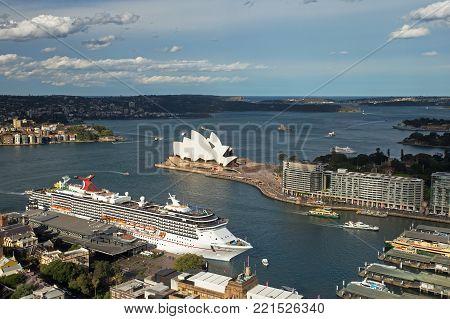 SYDNEY, AUSTRALIA - NOV 6, 2017: A bird eyes the view across Circular Quay towards the Opera House