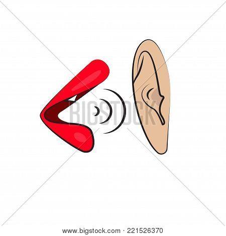 Rumors, gossip. Female lips say male ear. Vector