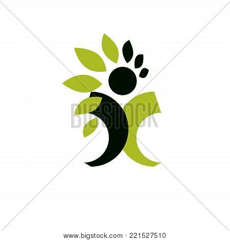 Vector illustration of happy abstract human with reaching up. Go green idea creative logo. Vegetarian theme logotype. Wanderlust and countryside vacation icon.