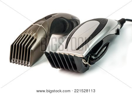 The machine for a hairstyle and hair trimmer. Hair clippers and hair trimmer isolated on white background.
