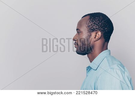 Half-faced Side Profile View Portrait Of Thoughtful Pensive Serious Confident Handsome Guy Dressed I