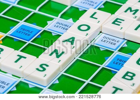 London, England, November 16, 2017 - Scrabble letters spelling the word loans