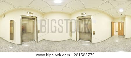 Spherical 360 degrees panorama projection, panorama in interior empty long corridor with doors and entrances to different rooms and lift