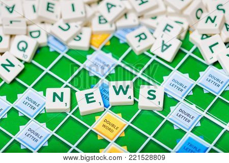 London, England, November 16, 2017 - Scrabble letters spelling the word news