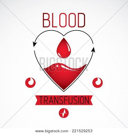 Blood transfusion vector symbol created with red heart shape with arrows and blood drops. Volunteer donorship, healthcare and medical treatment conceptual logo.
