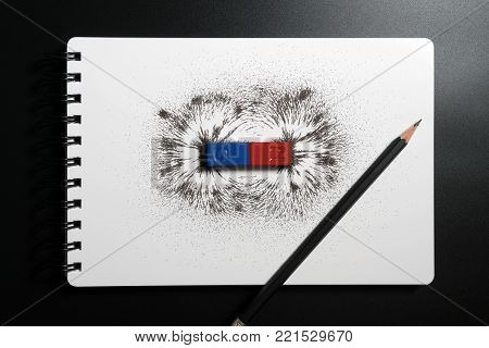 Red And Blue Bar Magnet Or Physics Magnetic With Iron Powder Magnetic Field On White Background. Sci