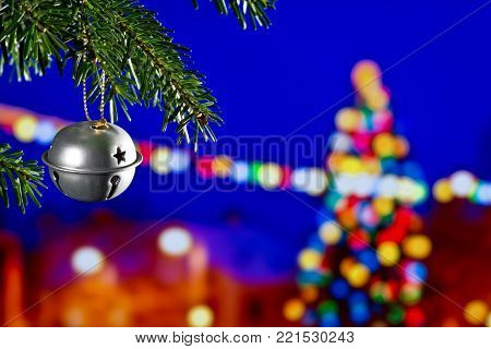 Christmas Decoration with Christmas Bell on the Christmas Tree