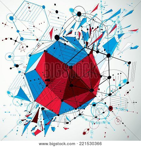 3d vector abstract colorful background created in Bauhaus retro style. Dimensional geometric composition with low poly shattered object and graphic elements can be used as templates and layouts.