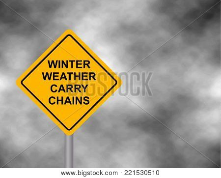 Winter weather carry chains warning road sign. Yellow hazard warning sign, isolated on a grey sky bad weather warning. Vector illustration