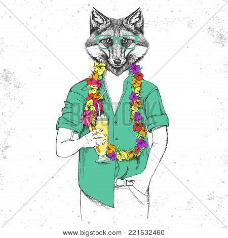 Retro Hipster animal fox with tropic cocktail