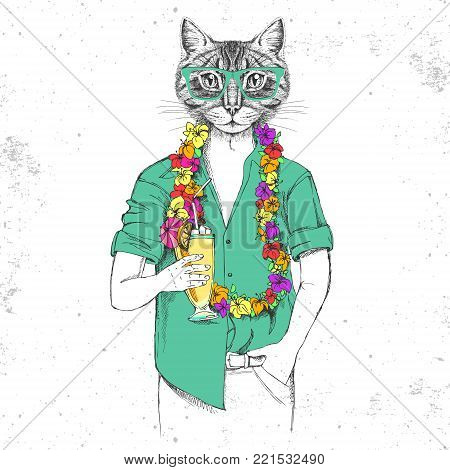 Retro Hipster animal cat with tropic cocktail