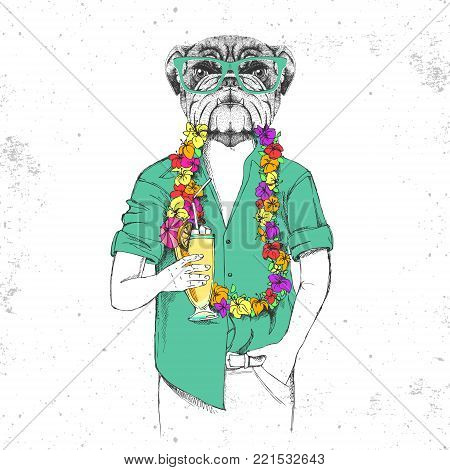 Retro Hipster animal bulldog with tropic cocktail