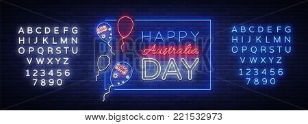 Happy Australia Day neon sign vector. Neon banner, bright card, luminous sign, Night neon welcome card Happy Australia 26 January. Flyer, design template for your projects. Editing text neon sign.