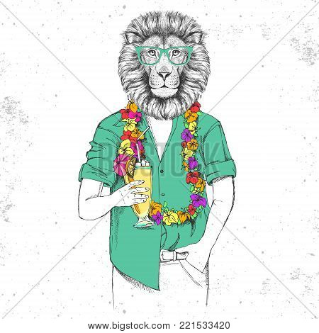 Retro Hipster animal lion with tropic cocktail