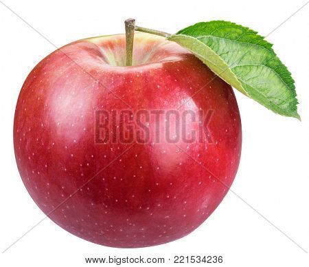 Ripe red apple with apple leaf. File contains clipping path.