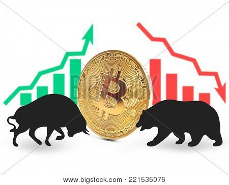 Confrontation between bull and bear as symbols of financial market with bitcoin on white background. Concept of stock trading