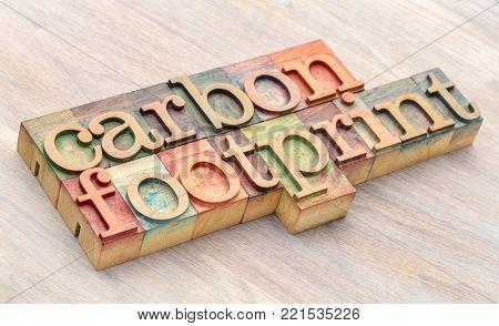 carbon footprint word abstract in letterpress wood type printing blocks