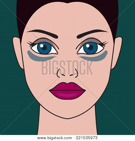 Dark circles under eyes. Woman, girl with bruises from fatigue, insomnia, disease. Vector illustration