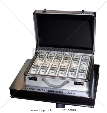 One Million Dollars In A Briefcase On A Stand