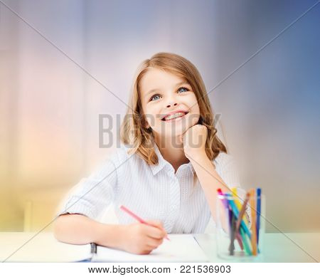 education, creation and school concept - smiling little student girl drawing and daydreaming over rose quartz and serenity gradient background