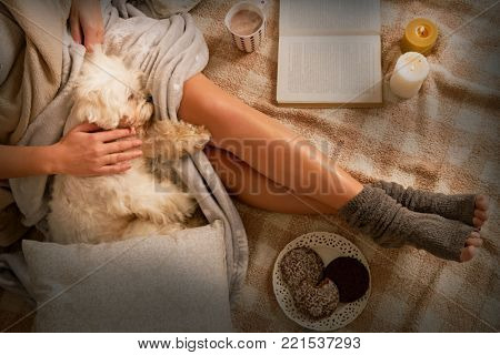 Woman with cute dog Maltese, sweet gingerbread cookies, book, hot drink  lying on bed in the cozy room