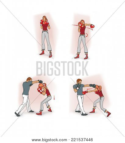 Initial boxing self-defense lessons, a girl in a boxing rack, avoiding a blow, sparring with a man. Raster illustration.