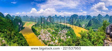Guilin, Guangxi, China karst mountains on the Li River.