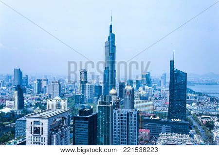 modern buildings in midtown of nanjing in cloud sky from high angle view