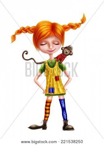 Illustration of Pippi Longstocking and a monkey