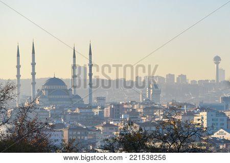Ankara cityscape in a foggy morning - Ankara, Turkey